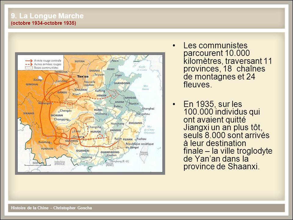 Les communistes parcourent 10.000 kilomètres, traversant 11 provinces, 18 chaînes de montagnes et 24 fleuves. En 1935, sur les 100.000 individus qui o