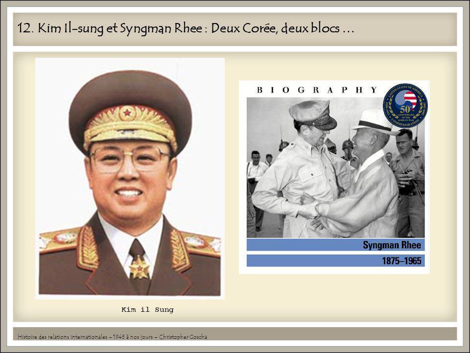 12. Kim Il-sung et Syngman Rhee : Deux Corée, deux blocs … Histoire des relations internationales – 1945 à nos jours – Christopher Goscha Kim il Sung