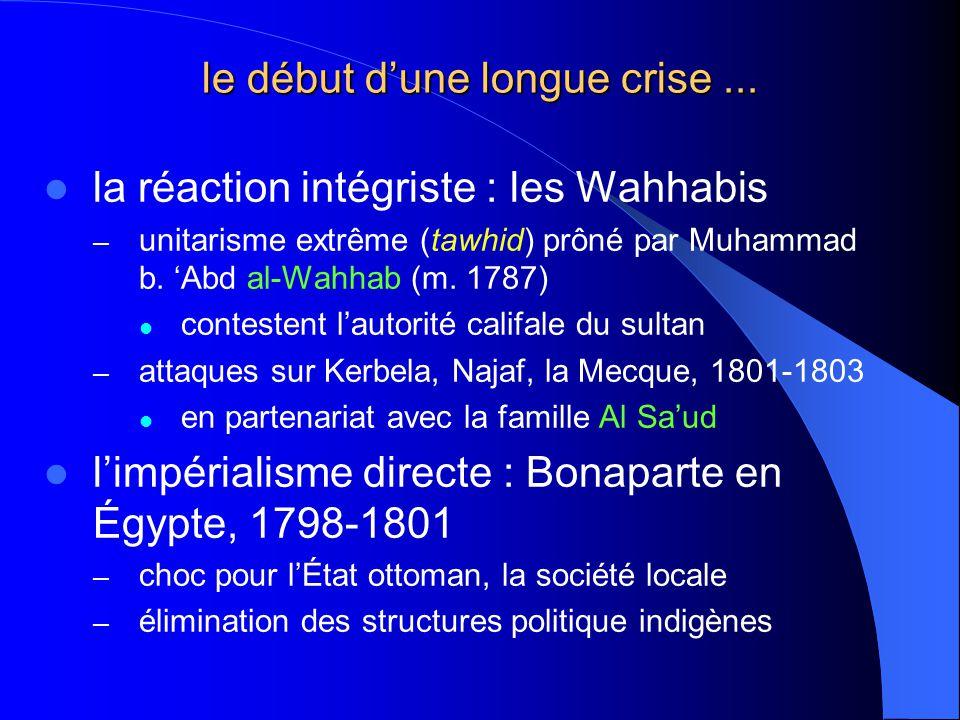 le début dune longue crise... la réaction intégriste : les Wahhabis – unitarisme extrême (tawhid) prôné par Muhammad b. Abd al-Wahhab (m. 1787) contes