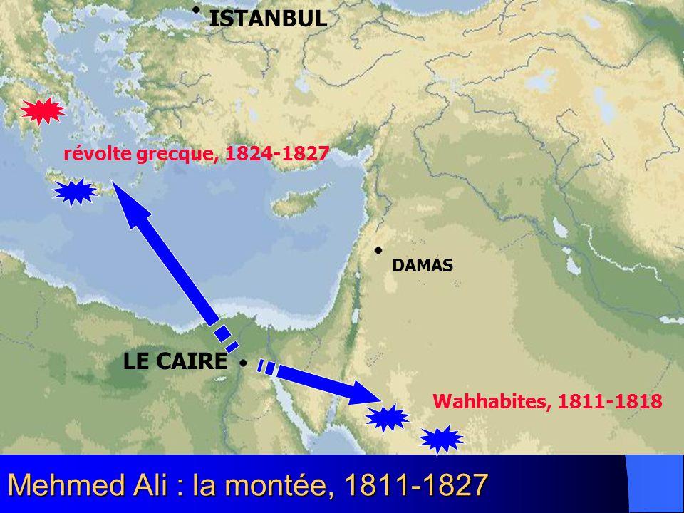 Mehmed Ali : la montée, 1811-1827 LE CAIRE DAMAS ISTANBUL Wahhabites, 1811-1818 révolte grecque, 1824-1827