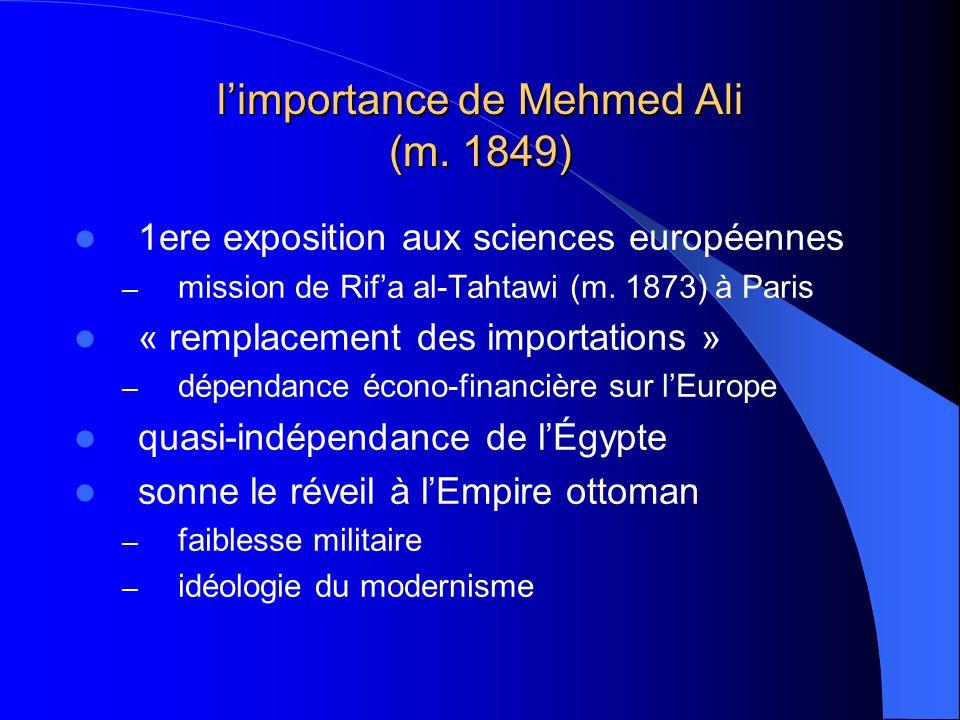 limportance de Mehmed Ali (m. 1849) 1ere exposition aux sciences européennes – mission de Rifa al-Tahtawi (m. 1873) à Paris « remplacement des importa
