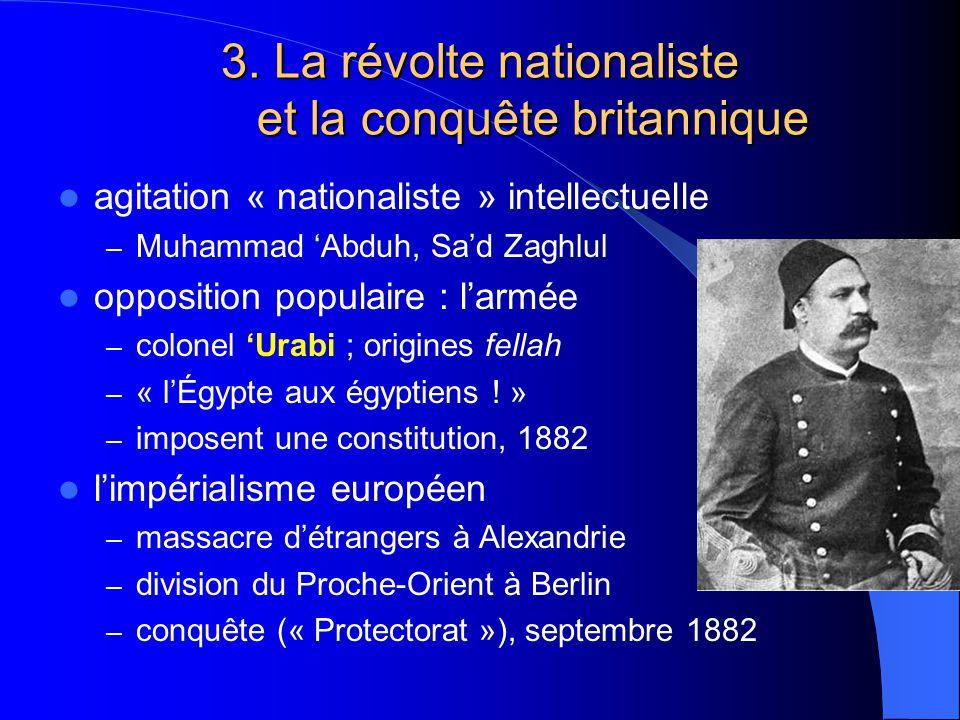 3. La révolte nationaliste et la conquête britannique agitation « nationaliste » intellectuelle – Muhammad Abduh, Sad Zaghlul opposition populaire : l