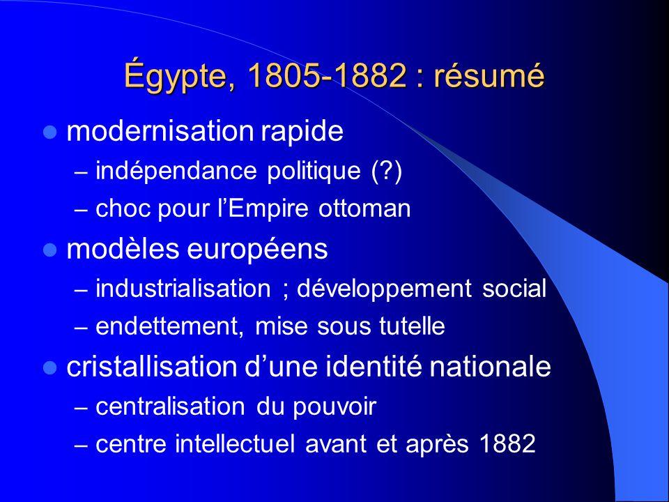 Égypte, 1805-1882 : résumé modernisation rapide – indépendance politique (?) – choc pour lEmpire ottoman modèles européens – industrialisation ; dével