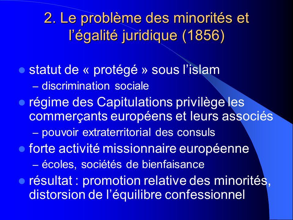 2. Le problème des minorités et légalité juridique (1856) statut de « protégé » sous lislam – discrimination sociale régime des Capitulations privilèg