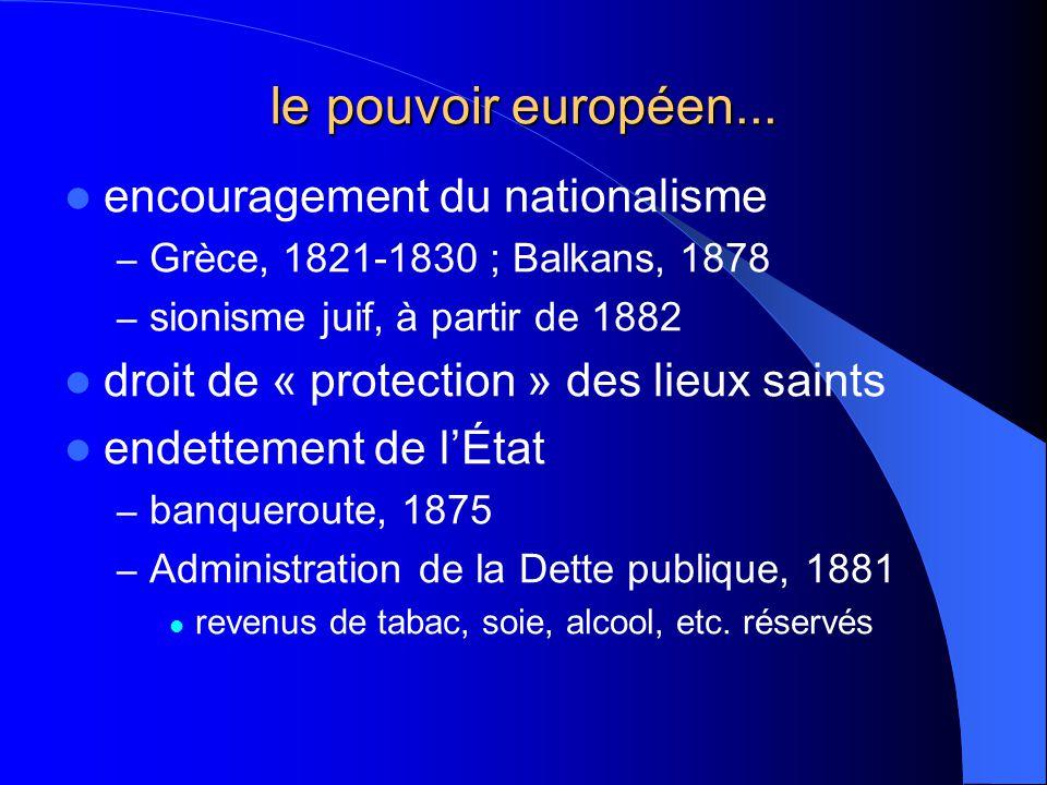 le pouvoir européen... encouragement du nationalisme – Grèce, 1821-1830 ; Balkans, 1878 – sionisme juif, à partir de 1882 droit de « protection » des