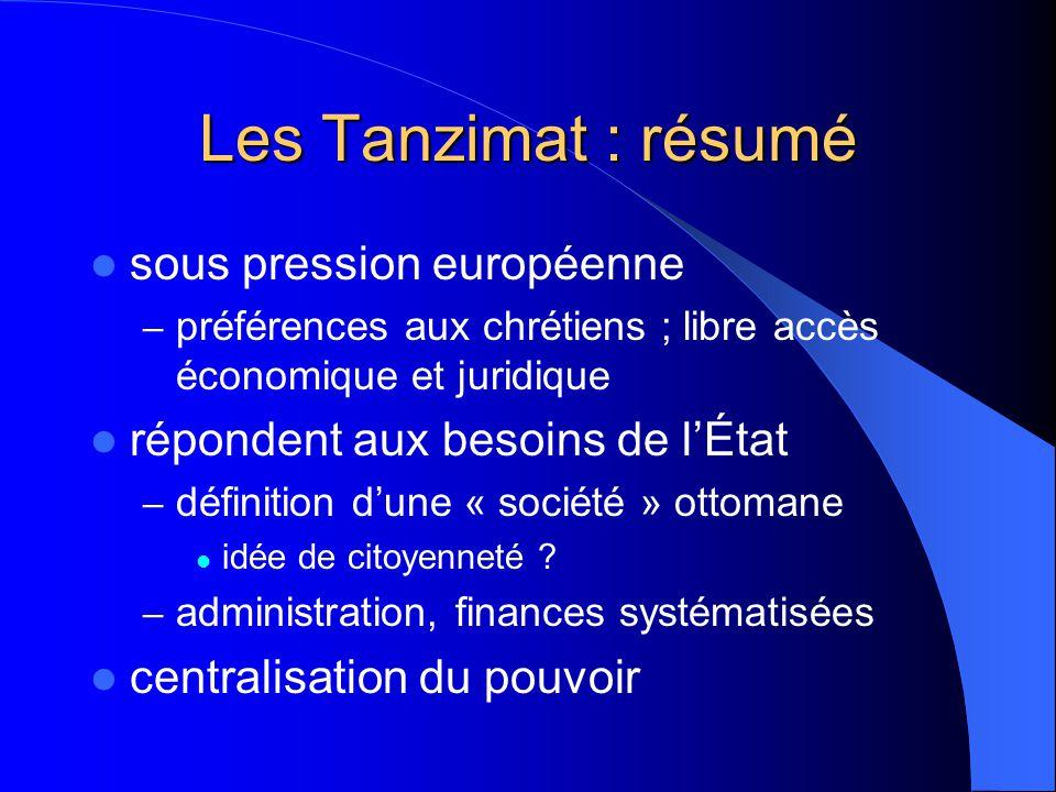 Les Tanzimat : résumé sous pression européenne – préférences aux chrétiens ; libre accès économique et juridique répondent aux besoins de lÉtat – définition dune « société » ottomane idée de citoyenneté .