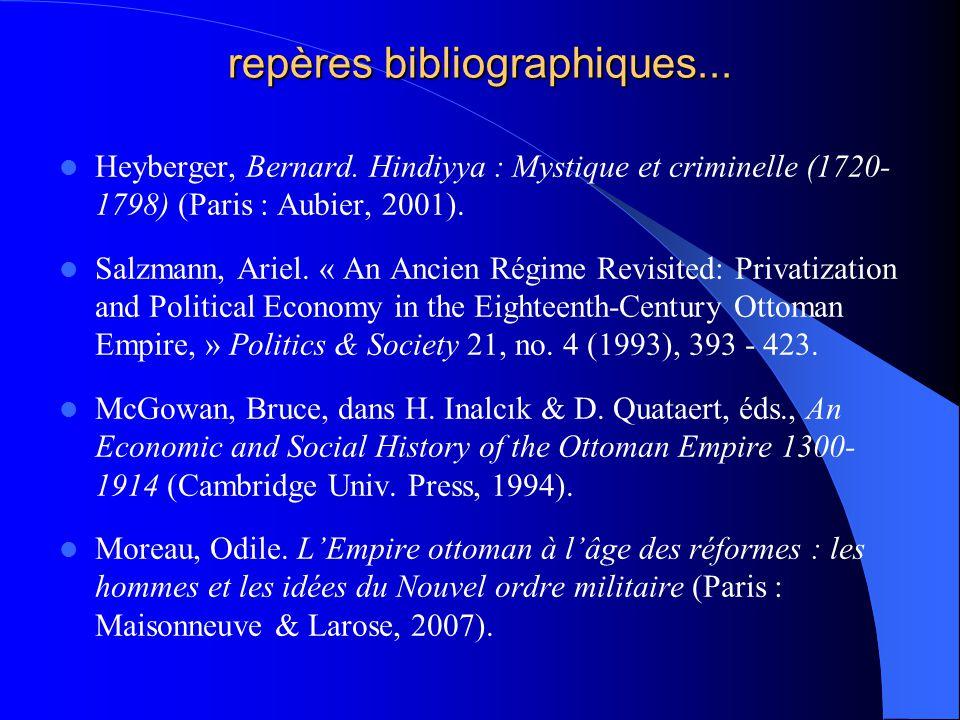 repères bibliographiques... Heyberger, Bernard. Hindiyya : Mystique et criminelle (1720- 1798) (Paris : Aubier, 2001). Salzmann, Ariel. « An Ancien Ré