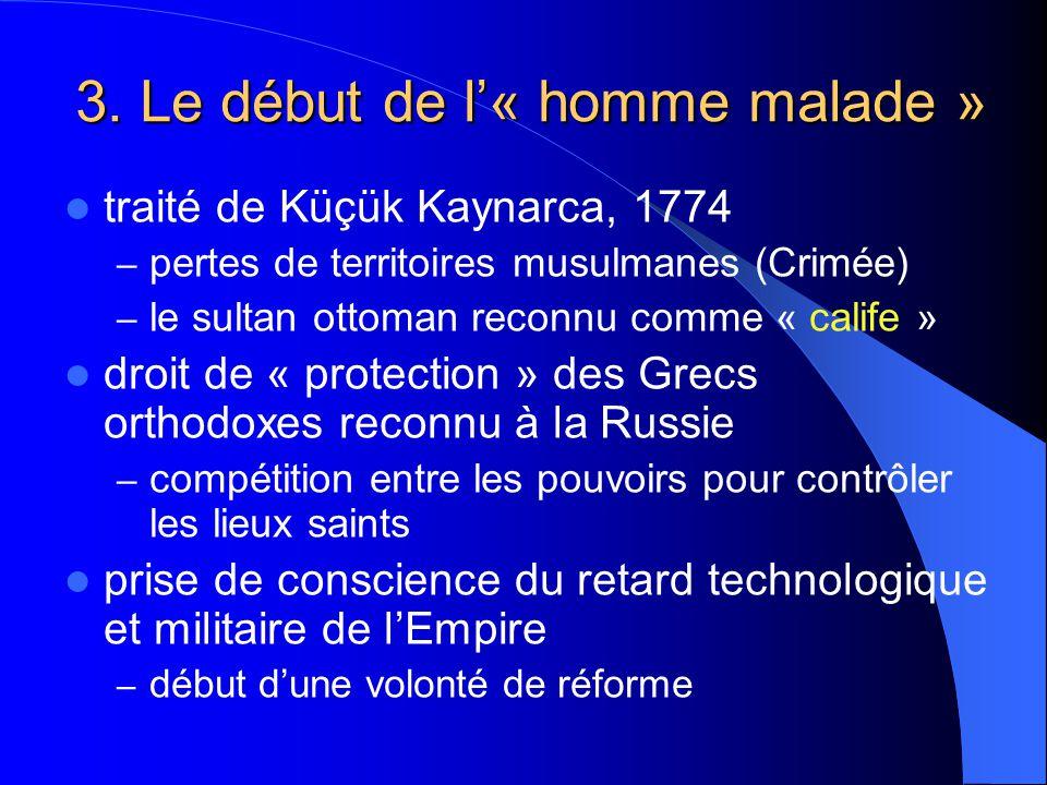3. Le début de l« homme malade » traité de Küçük Kaynarca, 1774 – pertes de territoires musulmanes (Crimée) – le sultan ottoman reconnu comme « calife