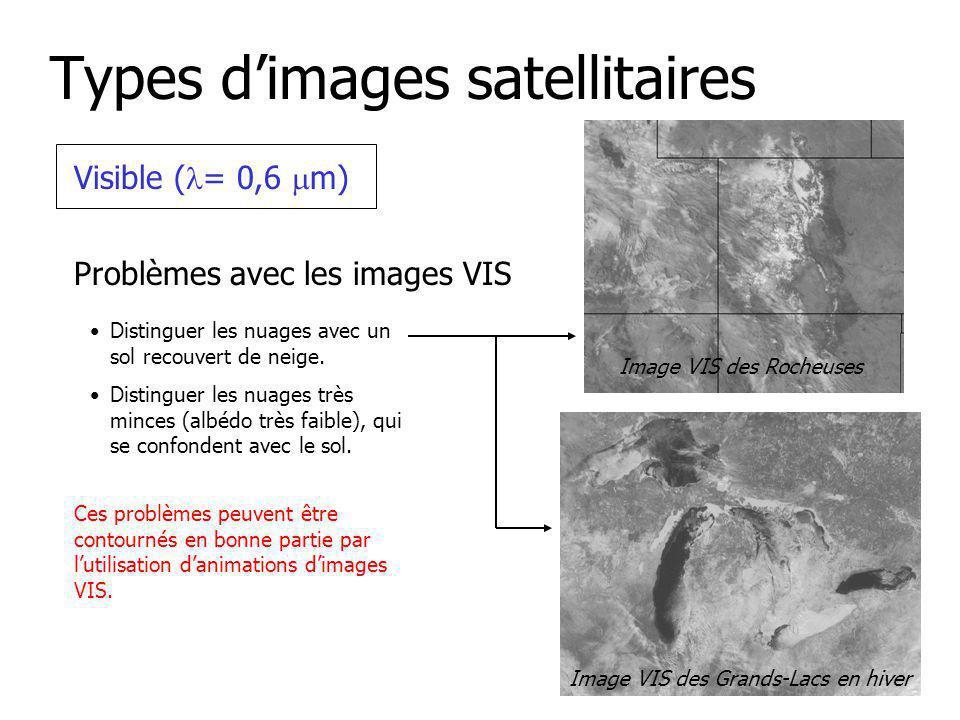 Types dimages satellitaires Visible ( = 0,6 m) Problèmes avec les images VIS Distinguer les nuages avec un sol recouvert de neige.