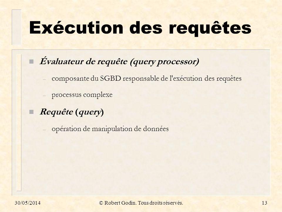30/05/2014© Robert Godin. Tous droits réservés.13 Exécution des requêtes n Évaluateur de requête (query processor) – composante du SGBD responsable de