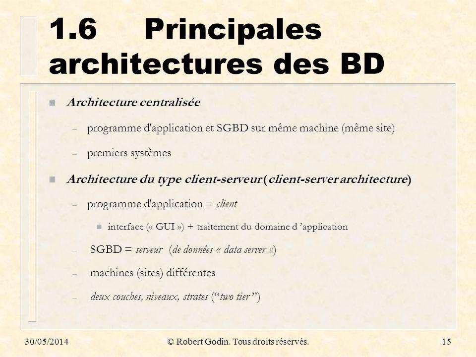 30/05/2014© Robert Godin. Tous droits réservés.15 1.6Principales architectures des BD n Architecture centralisée – programme d'application et SGBD sur