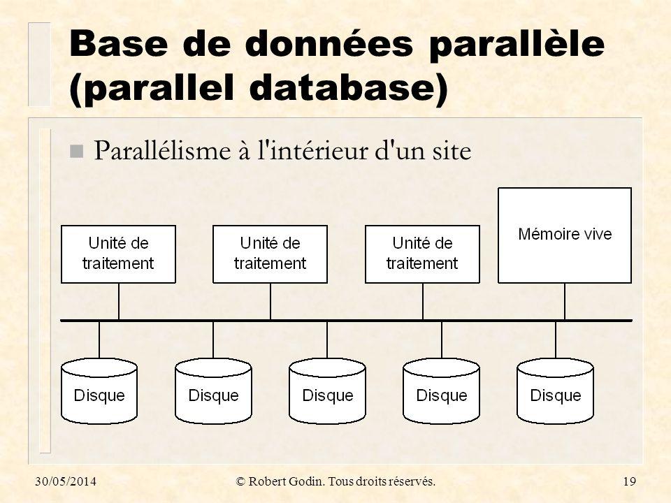 30/05/2014© Robert Godin. Tous droits réservés.19 Base de données parallèle (parallel database) n Parallélisme à l'intérieur d'un site