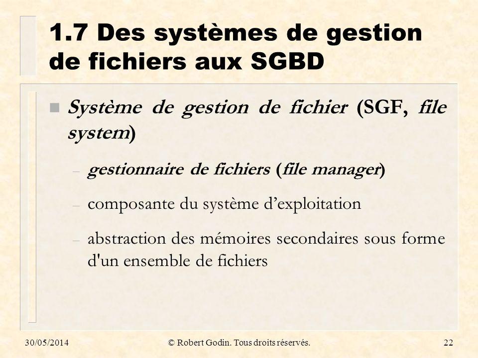30/05/2014© Robert Godin. Tous droits réservés.22 1.7Des systèmes de gestion de fichiers aux SGBD n Système de gestion de fichier (SGF, file system) –