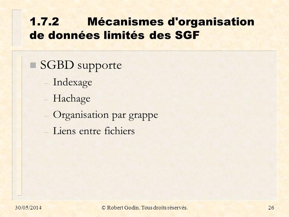 30/05/2014© Robert Godin. Tous droits réservés.26 1.7.2Mécanismes d'organisation de données limités des SGF n SGBD supporte – Indexage – Hachage – Org