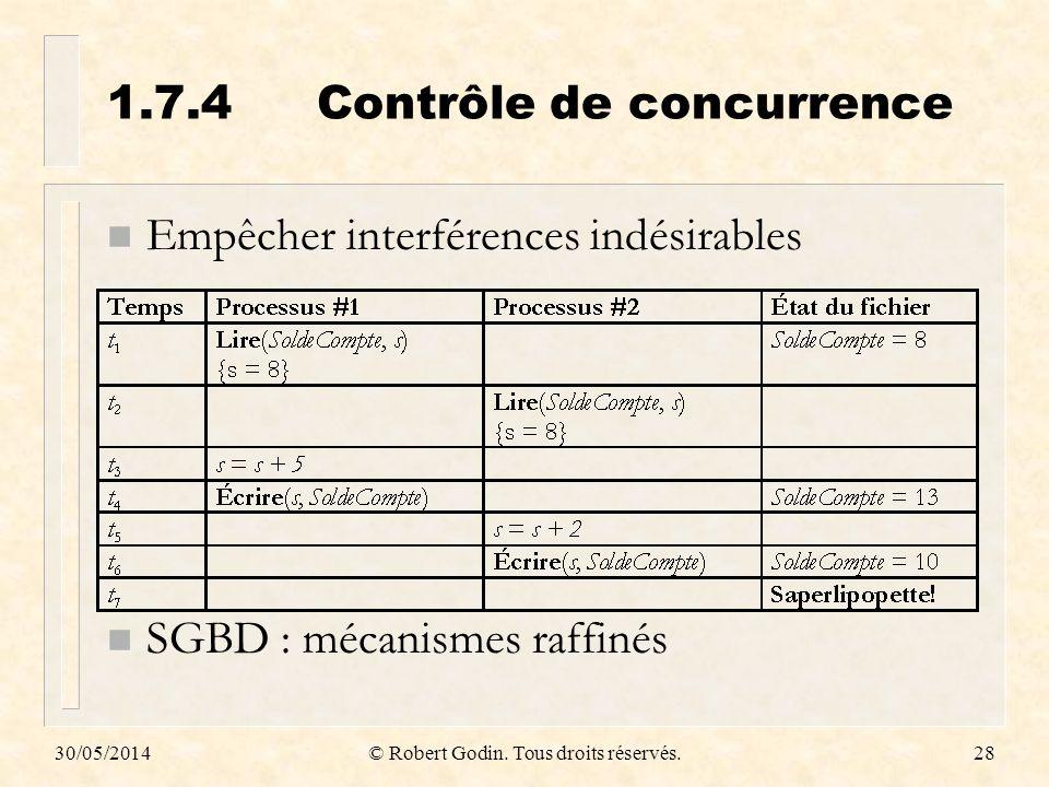 30/05/2014© Robert Godin. Tous droits réservés.28 1.7.4Contrôle de concurrence n Empêcher interférences indésirables n SGBD : mécanismes raffinés