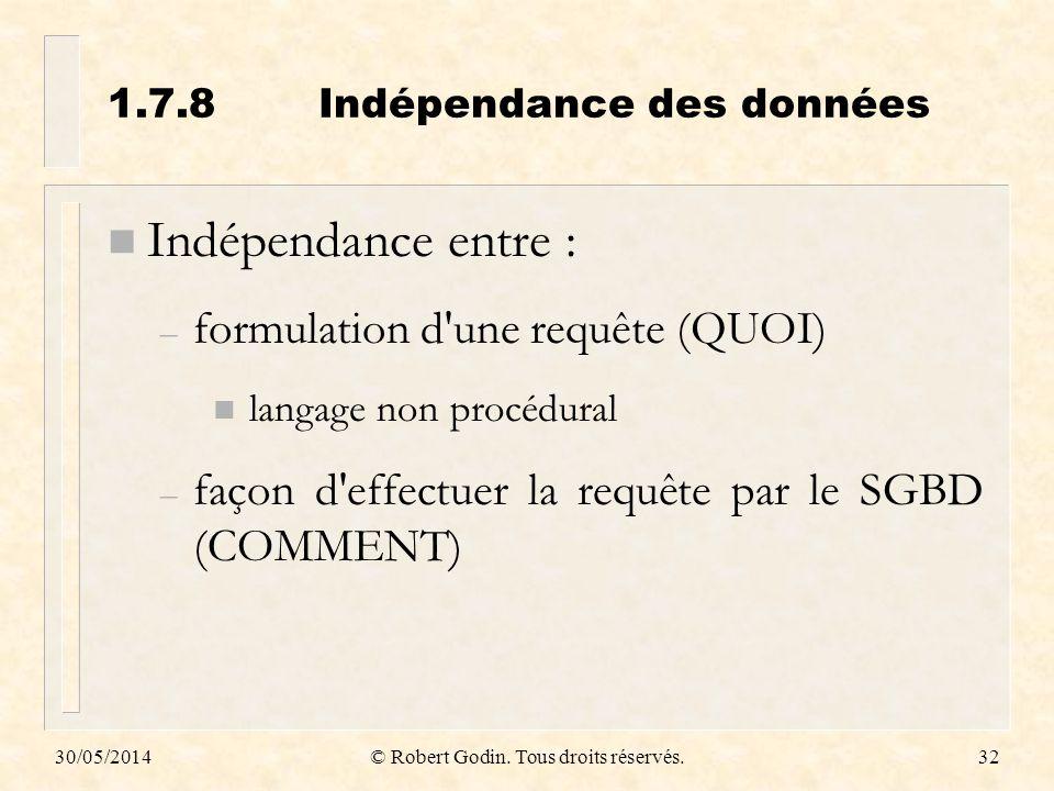 30/05/2014© Robert Godin. Tous droits réservés.32 1.7.8Indépendance des données n Indépendance entre : – formulation d'une requête (QUOI) n langage no