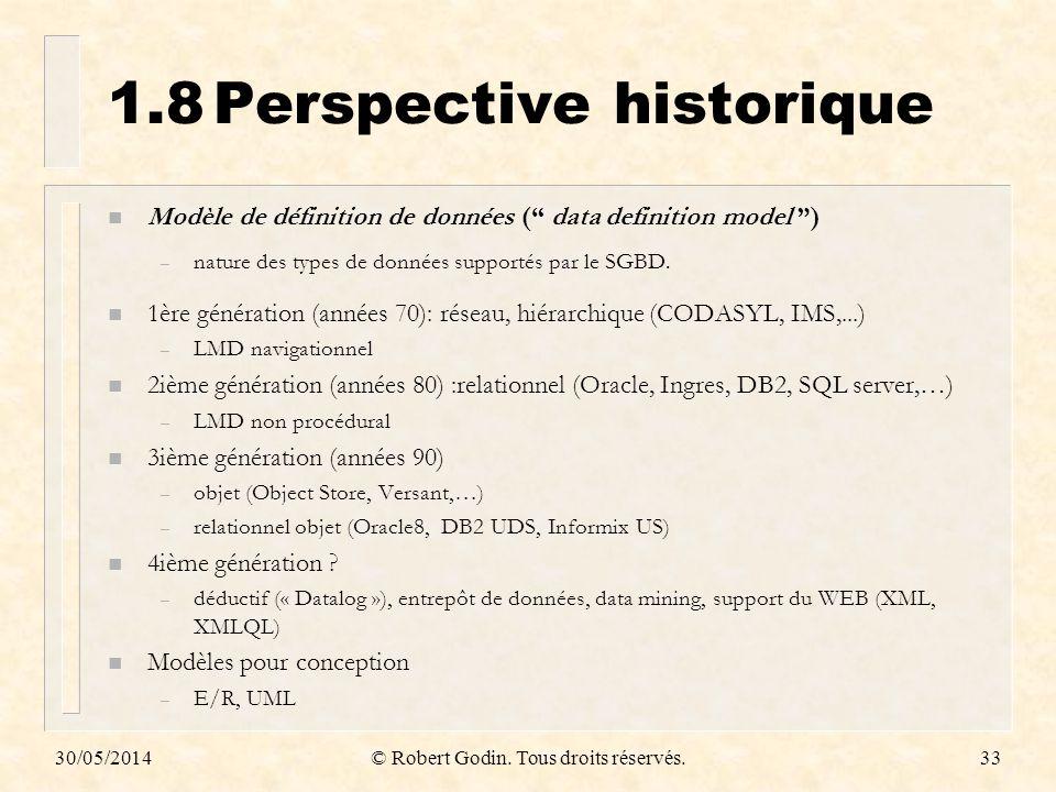 30/05/2014© Robert Godin. Tous droits réservés.33 1.8Perspective historique n Modèle de définition de données ( data definition model ) – nature des t