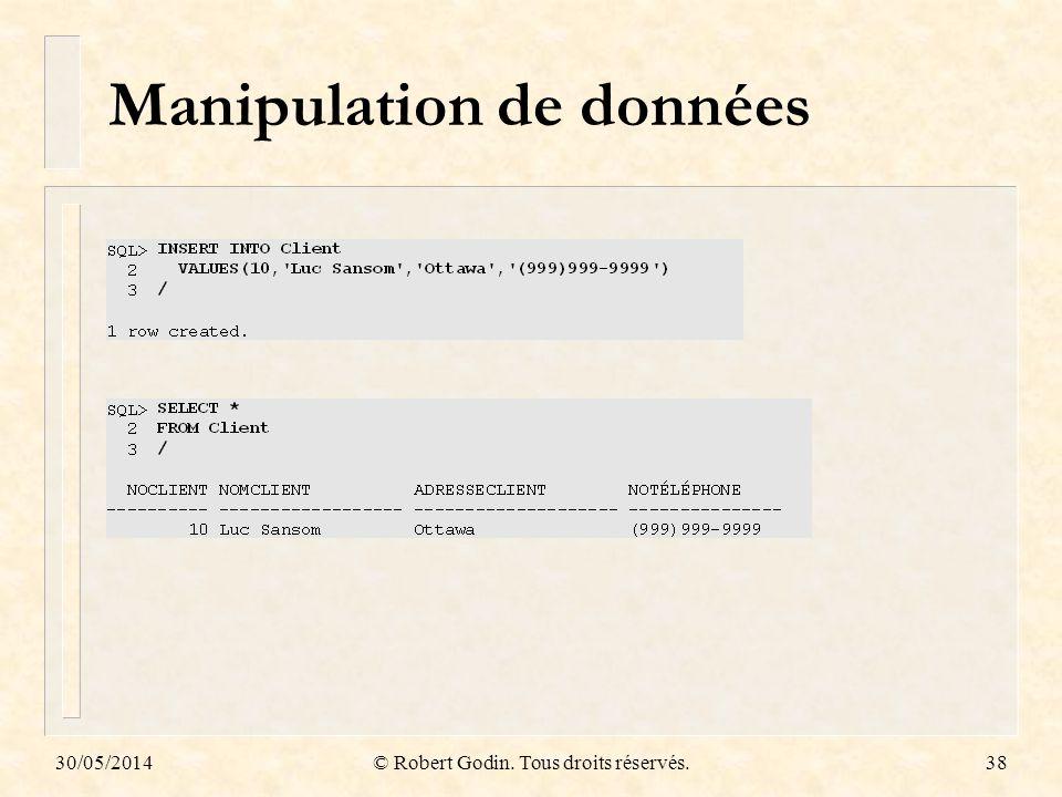 30/05/2014© Robert Godin. Tous droits réservés.38 Manipulation de données
