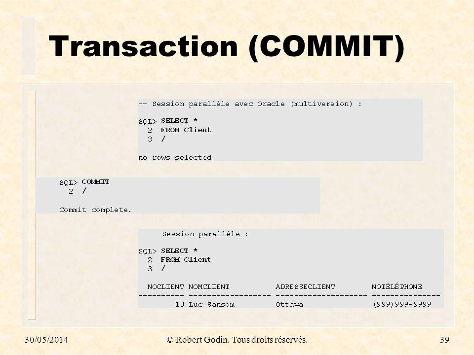 30/05/2014© Robert Godin. Tous droits réservés.39 Transaction (COMMIT)