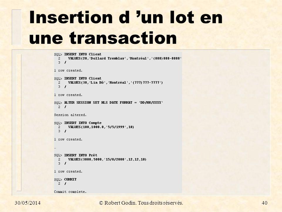 30/05/2014© Robert Godin. Tous droits réservés.40 Insertion d un lot en une transaction
