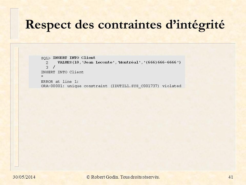 30/05/2014© Robert Godin. Tous droits réservés.41 Respect des contraintes dintégrité