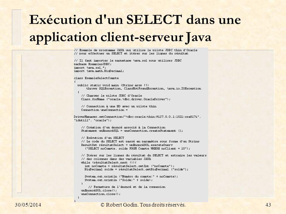 30/05/2014© Robert Godin. Tous droits réservés.43 Exécution d'un SELECT dans une application client-serveur Java