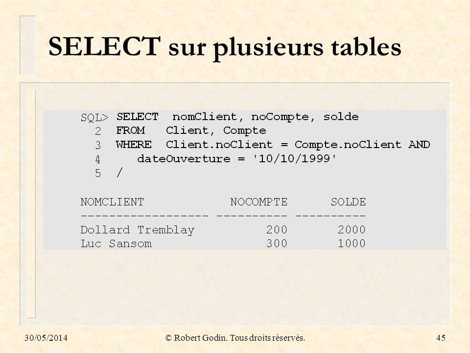 30/05/2014© Robert Godin. Tous droits réservés.45 SELECT sur plusieurs tables