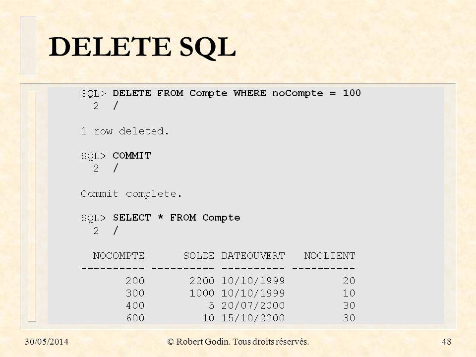 30/05/2014© Robert Godin. Tous droits réservés.48 DELETE SQL