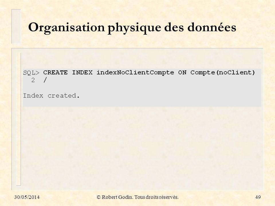 30/05/2014© Robert Godin. Tous droits réservés.49 Organisation physique des données