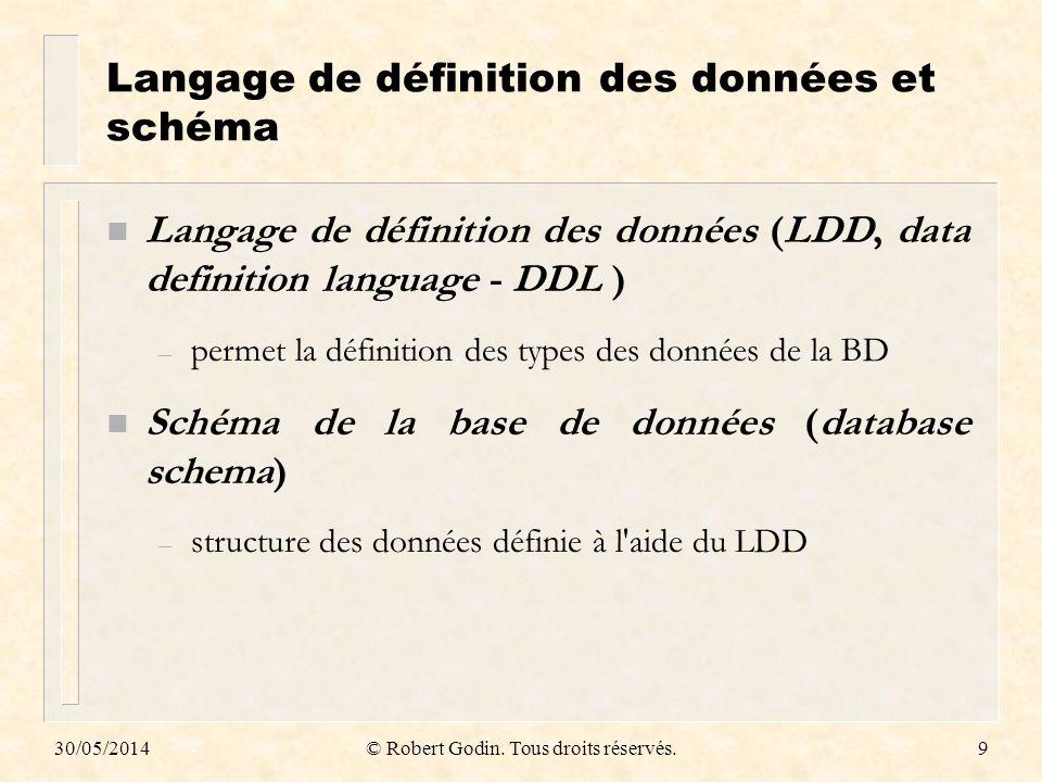 30/05/2014© Robert Godin. Tous droits réservés.9 Langage de définition des données et schéma n Langage de définition des données (LDD, data definition