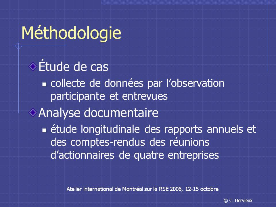 © C. Hervieux Atelier international de Montréal sur la RSE 2006, 12-15 octobre Méthodologie Étude de cas collecte de données par lobservation particip