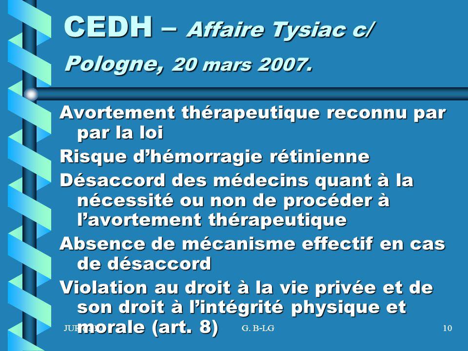 JUR 6225G. B-LG10 CEDH – Affaire Tysiac c/ Pologne, 20 mars 2007. Avortement thérapeutique reconnu par par la loi Risque dhémorragie rétinienne Désacc