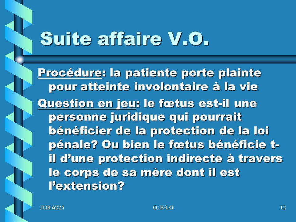 JUR 6225G. B-LG12 Suite affaire V.O. Procédure: la patiente porte plainte pour atteinte involontaire à la vie Question en jeu: le fœtus est-il une per