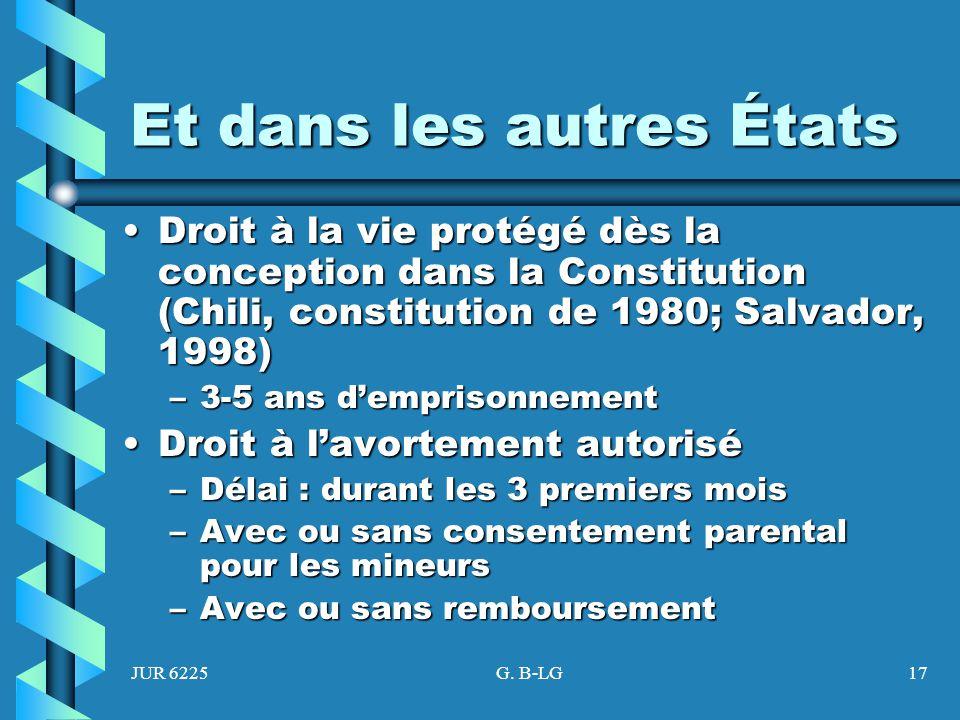 JUR 6225G. B-LG17 Et dans les autres États Droit à la vie protégé dès la conception dans la Constitution (Chili, constitution de 1980; Salvador, 1998)