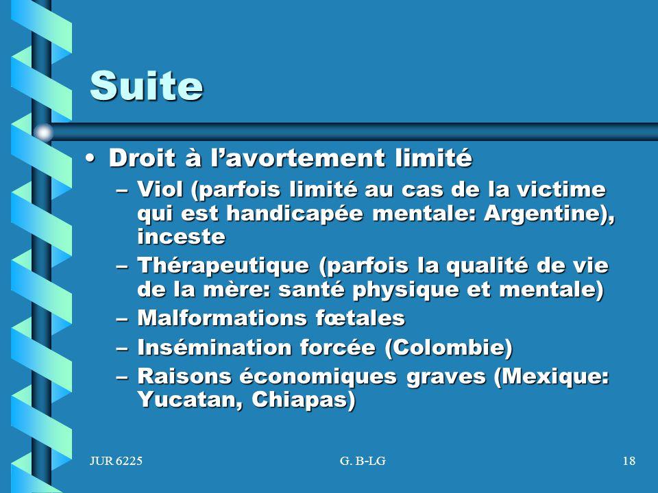JUR 6225G. B-LG18 Suite Droit à lavortement limitéDroit à lavortement limité –Viol (parfois limité au cas de la victime qui est handicapée mentale: Ar