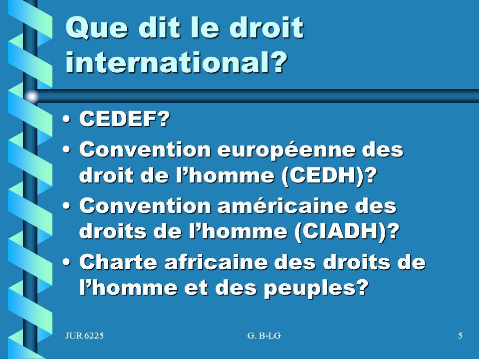JUR 6225G. B-LG5 Que dit le droit international? CEDEF?CEDEF? Convention européenne des droit de lhomme (CEDH)?Convention européenne des droit de lhom