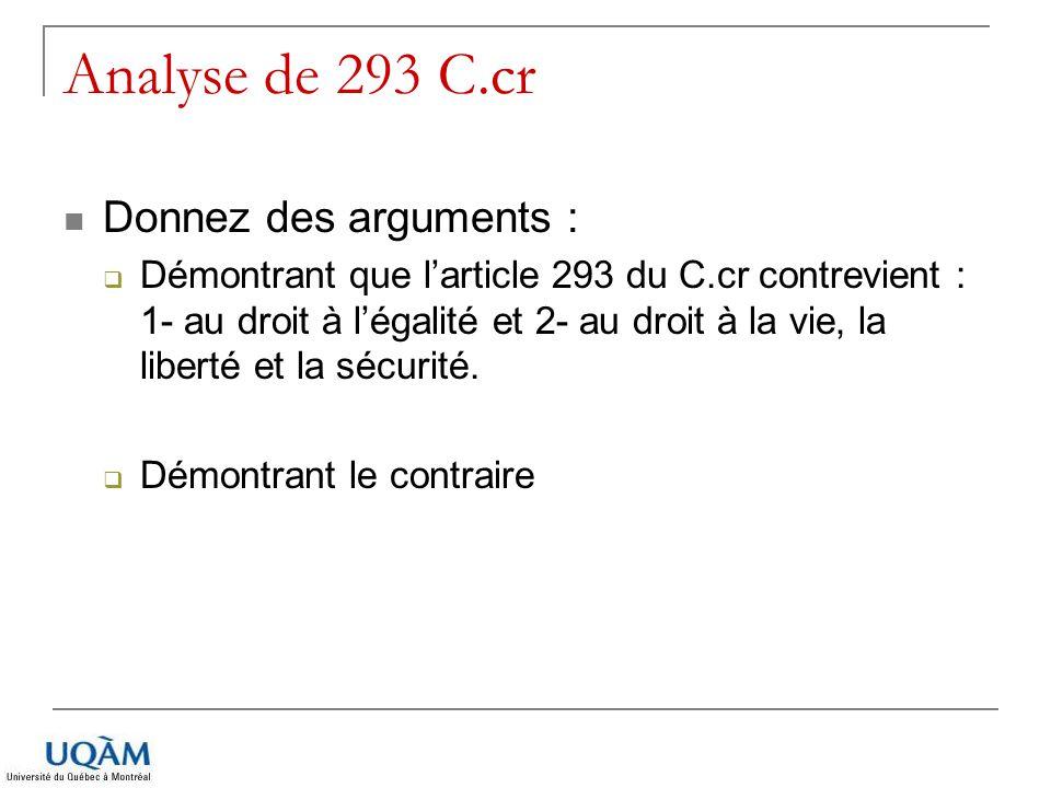 Analyse de 293 C.cr Donnez des arguments : Démontrant que larticle 293 du C.cr contrevient : 1- au droit à légalité et 2- au droit à la vie, la libert