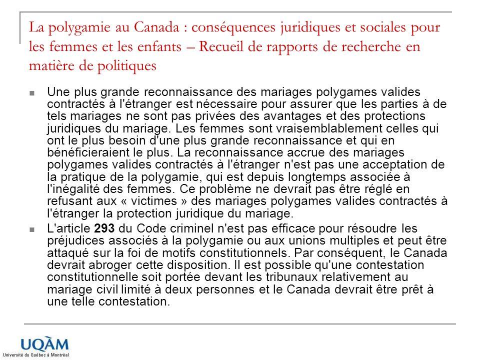 La polygamie au Canada : conséquences juridiques et sociales pour les femmes et les enfants – Recueil de rapports de recherche en matière de politique