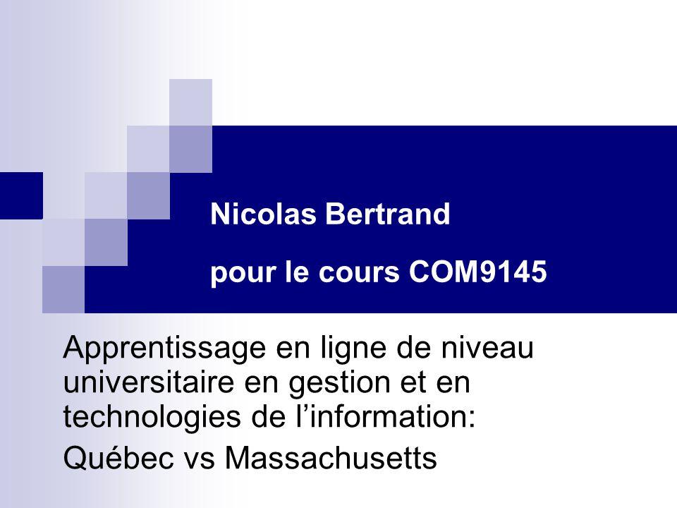 Apprentissage en ligne de niveau universitaire en gestion et en technologies de linformation: Québec vs Massachusetts Nicolas Bertrand pour le cours COM9145