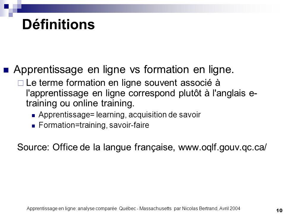Apprentissage en ligne: analyse comparée Québec - Massachusetts par Nicolas Bertrand, Avril 2004 10 Définitions Apprentissage en ligne vs formation en ligne.