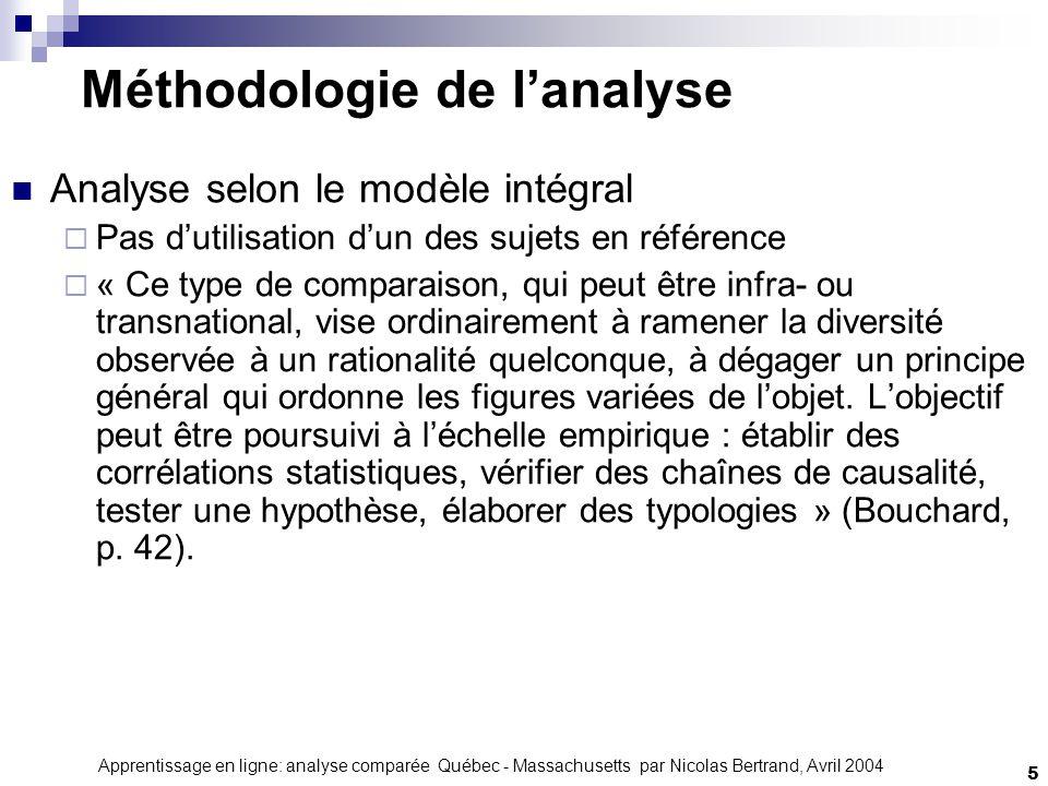Apprentissage en ligne: analyse comparée Québec - Massachusetts par Nicolas Bertrand, Avril 2004 6 Massachusetts