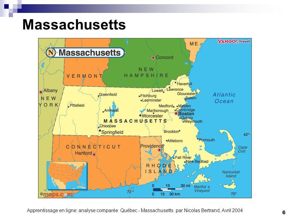 Apprentissage en ligne: analyse comparée Québec - Massachusetts par Nicolas Bertrand, Avril 2004 7 Massachusetts 1620: Début de la colonisation Capitale: Boston Économie: Technologies, industrie manufacturière, finance, agriculture et tourisme.