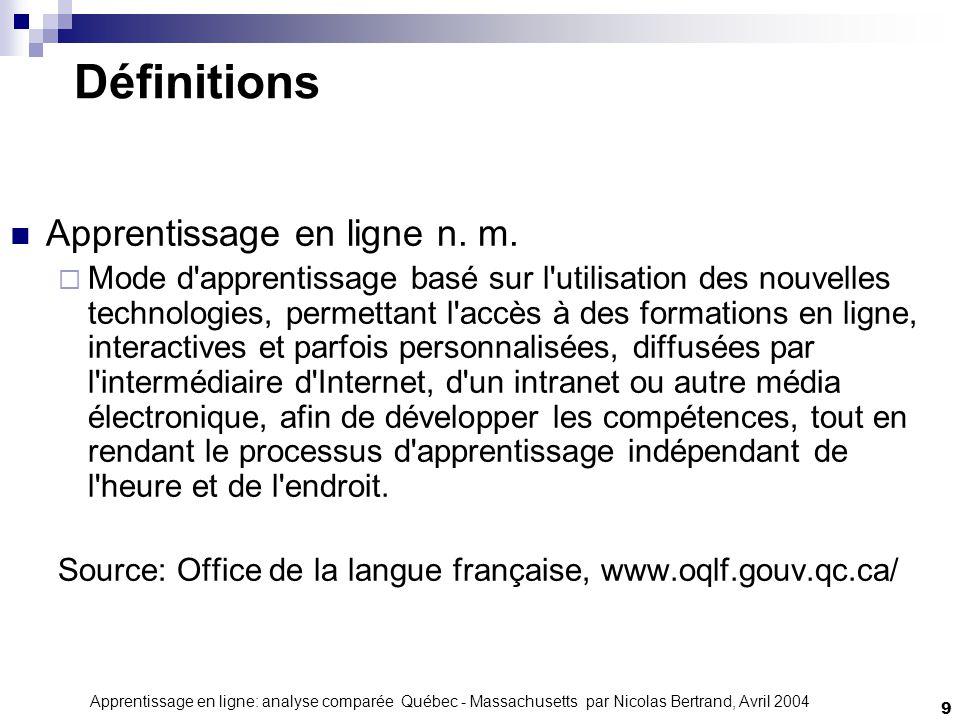 Apprentissage en ligne: analyse comparée Québec - Massachusetts par Nicolas Bertrand, Avril 2004 9 Définitions Apprentissage en ligne n.