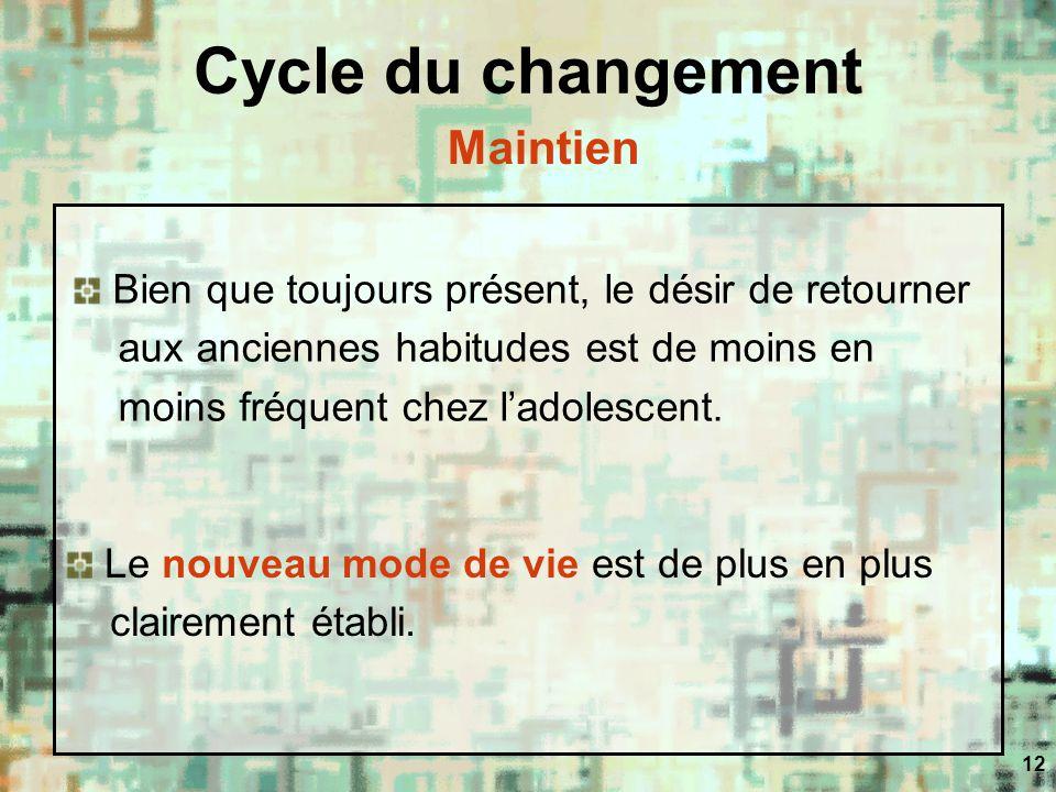 12 Cycle du changement Bien que toujours présent, le désir de retourner aux anciennes habitudes est de moins en moins fréquent chez ladolescent. Le no