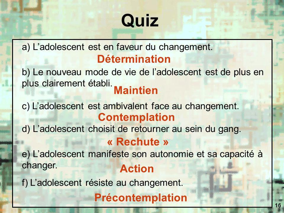 16 Quiz a) Ladolescent est en faveur du changement. b) Le nouveau mode de vie de ladolescent est de plus en plus clairement établi. c) Ladolescent est