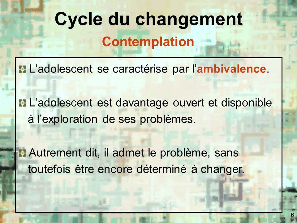 6 Cycle du changement Ladolescent se caractérise par lambivalence. Ladolescent est davantage ouvert et disponible à lexploration de ses problèmes. Aut