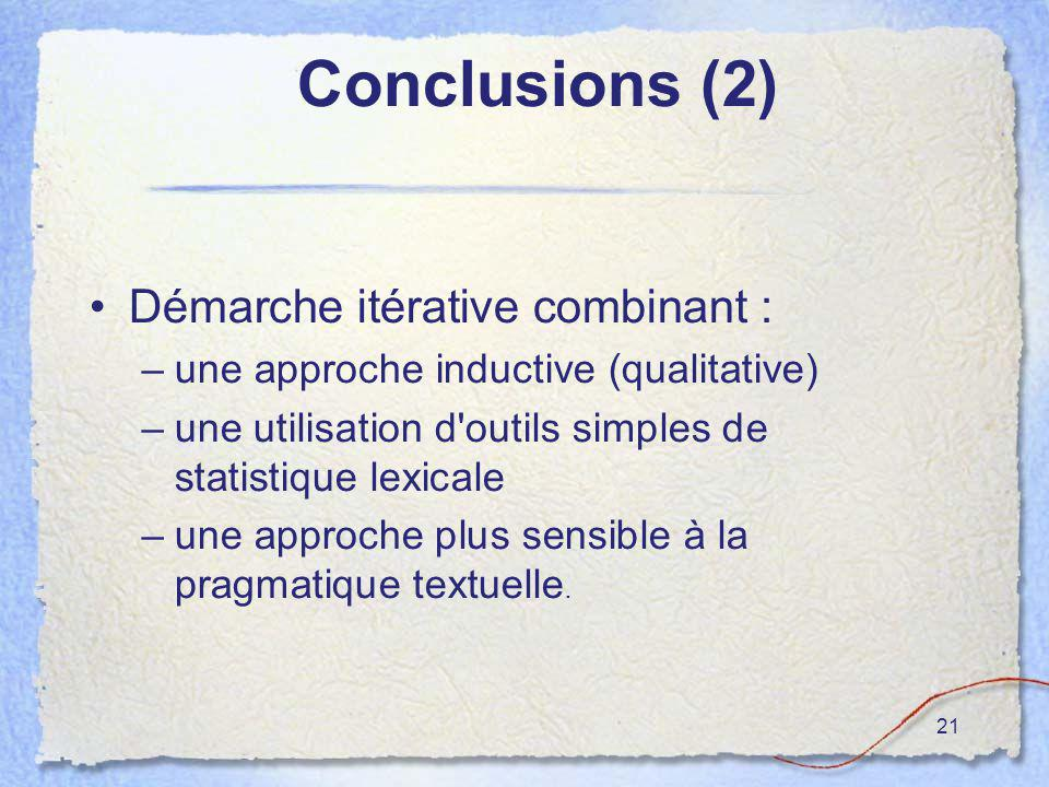 21 Conclusions (2) Démarche itérative combinant : –une approche inductive (qualitative) –une utilisation d'outils simples de statistique lexicale –une