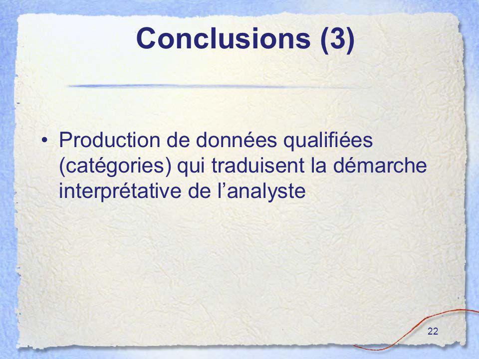 22 Conclusions (3) Production de données qualifiées (catégories) qui traduisent la démarche interprétative de lanalyste