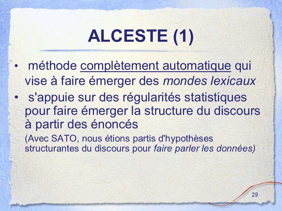 29 ALCESTE (1) méthode complètement automatique qui vise à faire émerger des mondes lexicaux s'appuie sur des régularités statistiques pour faire émer
