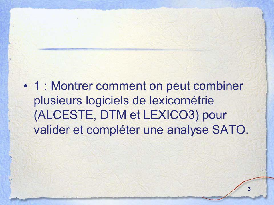 3 1 : Montrer comment on peut combiner plusieurs logiciels de lexicométrie (ALCESTE, DTM et LEXICO3) pour valider et compléter une analyse SATO.